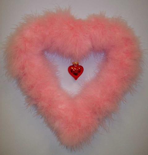 Pink Marabou Valentine Wreath