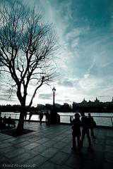 Blue day (Khalid AlHaqqan) Tags: sunset london canon river fisheye times khalid  silluotte 40d alhaqqan canon40d segma