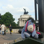 Eeyore waits at the crosswalk on the way to the Wellington Arch, Hyde Park Corner, London thumbnail