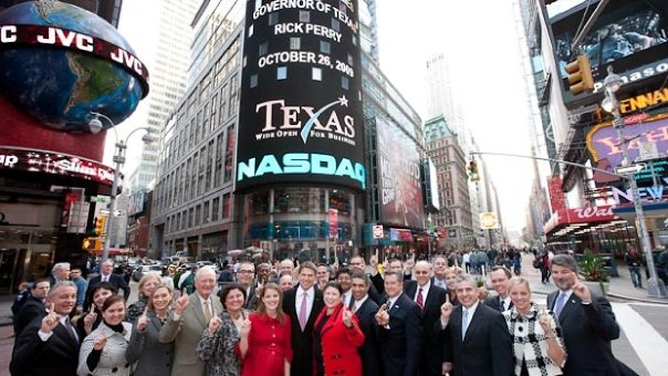 Governor Perry promoting Texas business at NASDAQ