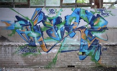 Herz (Herzoleum) Tags: abandoned painting graffiti paint decay bricks letters demolition brickwall mta nes piece herz mvp otb tds graffitiwall tpa herzo colorpiece 2011 80sgraffiti spuitbus xts oldschoolstyle thedeathsquad badinc herz1 nescrew mtacrew frunch umxs madtransitartists oldschoolstijl herzone crosstownstatic kleurenpiece