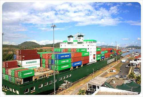 Miraflores locks container ship