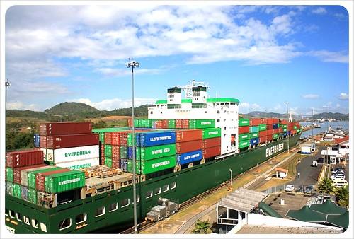 Miraflores locks container ship
