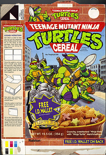 "Ralston ""Teenage Mutant Ninja Turtles"" Cereal -  ""FREE I.D.WALLET"" i (( 1991 ))"