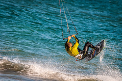 79/365: Kite surfing (j.borras) Tags: sea kite man sports water sport yellow de fun nikon mediterranean board extreme sigma el surfing surface llobregat prat d300 400mm project365 120400