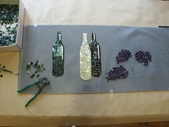 wine maker's mosaic process (lori.d (Lori Desormeau)) Tags: art design wine mosaic vine winebottles winemaker backsplashglassgrapesgrape