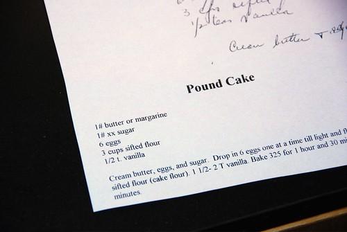 Gramma's Pound Cake Recipe