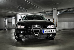 New Car (Philipp Klinger Photography) Tags: light italy black reflection verde car metal illustration germany italia heart frankfurt milano garage style alfa romeo bella philipp hdr 156 hesse sportwagon klinger quadrifoglio tonemapping dcdead
