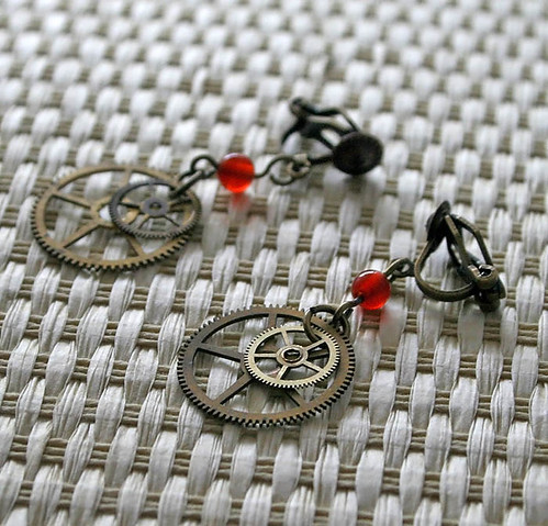 Carnelian Gears steampunk clip-on earrings