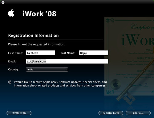 iWork Registration