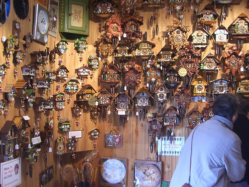 Wall of Cuckoo Clocks - German Cuckoo Clocks Nest - Tambourine