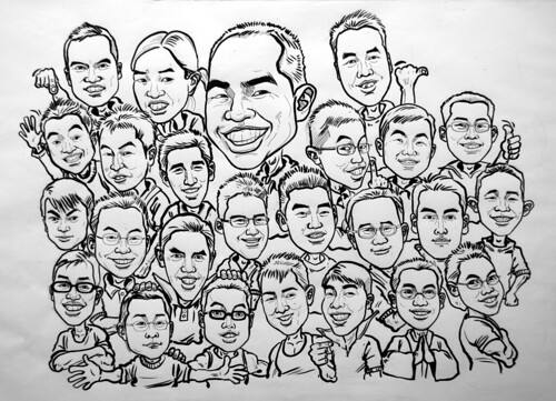 Group caricatures G2 Army ink and brush outline