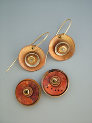 Metal/Polymer Discs (julie_picarello) Tags: house color yellow julie unique clay designs jewlery polymer gane mokume picarello