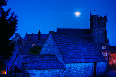 Village Of Corfe Castle At Night