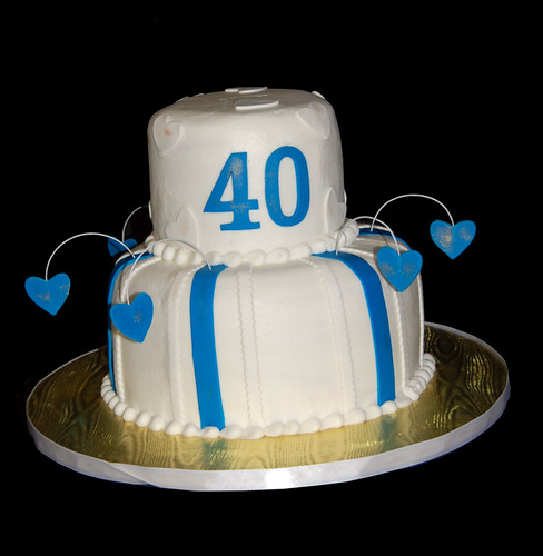 40th anniversary cake blue, white and gold