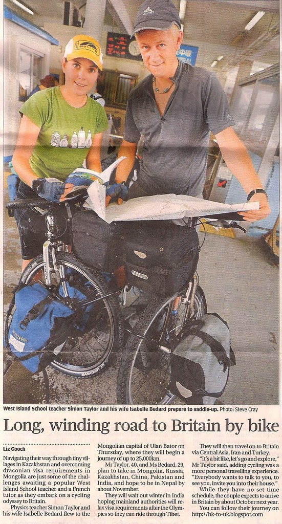 Cycle ride newpaper article