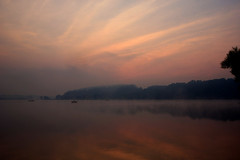 Fisherman & Fog, Marsh Creek Lake Sunrise (No_clever_names_left (Michael Lawrence)) Tags: longexposure mist fog sunrise reflections boats fisherman pennsylvania chestercounty canonefs1022mmf3545usm 3secondexposure marshcreekstatepark marshcreeklake canoneos40d 4amwakeupcall