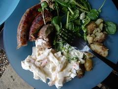 bbq dinner (helenhobbs) Tags: sausages coleslaw watercresssalad friednewjerseypotatoes