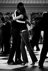 street tango 1 (Super G) Tags: street red bw music woman man public dance live band tango passion bayarea essence embrace redwoodcity courthousesquare argentinetango inclinada streettango