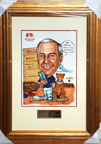 Caricature of Heuer Mastercard colour with frame and inscription