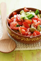 fresh tomato salsa (C.Mariani) Tags: wood summer green kitchen tomato table lunch pepper handle salad healthy cucumber rustic olive july tasty spoon casserole fresh textures clay vegetarian olives oil onion spicy jalapeno mycreation