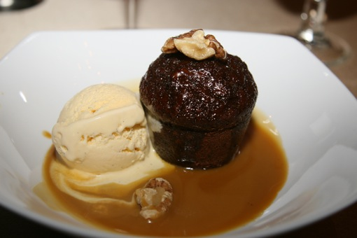 Sticky Date Pudding with butterscotch sauce and vanilla ice-cream