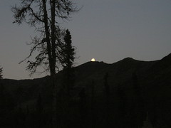 The moon peaks out over the ridgeline at Marion Creek Campground outside Coldfoot (1:30 AM - July 23rd).