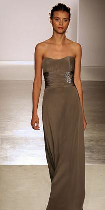 taupe gown with diamond side piece