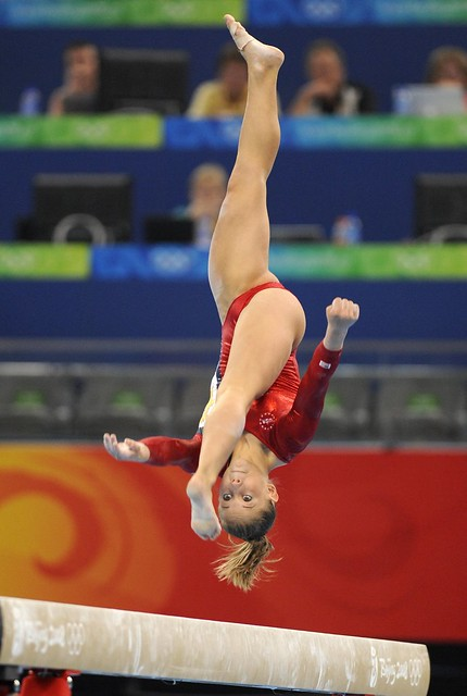 United States' Shawn Johnson competes on the balance beam