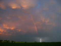 Rainbow Lightning (C. Redhead) Tags: storm rain rural cool rainbow farm picture thunderstorm lightning