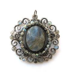 silver labradorite medallion