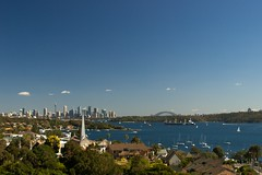 Sydney Harbor Skyline (smaedli) Tags: bridge water skyline sailboat harbor sydney australia sydneyharbor nikond200