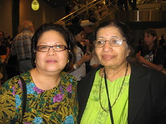 Mothers of East Bay delegates are Ana Marie Bustos Sr. of Oakleyk, left, and Charu Kapre of Hercules. The women were photographed at a delegate welcoming party at the Democratic National Convention on Sunday, Aug. 24, 2008, by Contra Costa Times reporter Lisa Vorderbrueggen, Their daughters are Hillary Clinton delegates Ana Marie Bustos and Kranti Kapre.