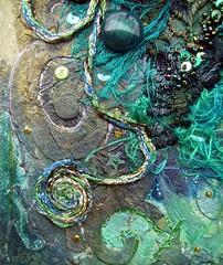 Detail Danger at sea 2 (Karen Cattoire) Tags: original abstract art collage handmade lace originalart creation fabric fiberart beading fibers acrylicpaint textileart tissu abstrait textiledart karencattoire fibretextile arttexilte