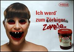 Reklamezombie (sulamith.sallmann) Tags: berlin strange monster advertising deutschland weird transformation zombie satire creepy commercial horror werbung plakat reklame berlinwedding untergrund adbusting subvertising seltsam werbeplakat subground verarschung sulamithsallmann reklametafel juni2008 trashbit st0 werbeverarschung