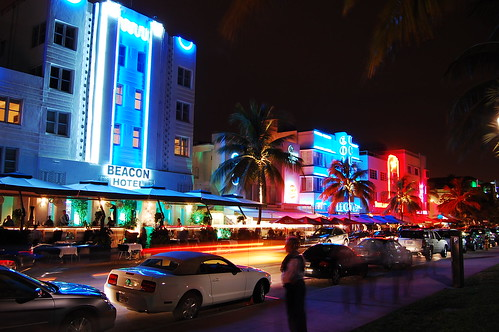Vibrant Art Deco District at Night
