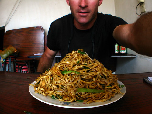 A mountain of noodles for lunch in Huangchuang, Henan Province, China