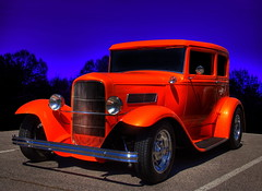 Tangelo Pearl (Thad Roan - Bridgepix) Tags: show blue orange classic ford car photoshop 1931 vintage colorado ps victoria denver explore pearl collectible asphalt tangelo hdr littleton clementpark photomatix anawesomeshot 200809