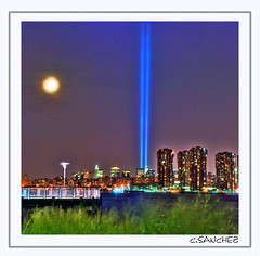 IN MEMORY OF SEPT 11TH (HDR) (NYC sharpshooter) Tags: nyc moon ny tower colors night lights nikon perfect photographer shots quality vivid twin queens wtc september11 11th fabulous pixels picturesque sept hdr remembering the goldenglobe blueribbonwinner nikond80 platinumphoto aplusphoto goldstaraward thebestofday gnneniyisi