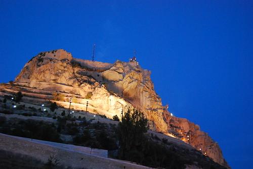 El Castillo de Santa Bárbara al anochecer