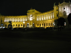 The Austrian National Library at night