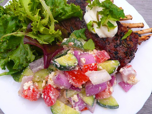 rack of lamb with cucumber salad