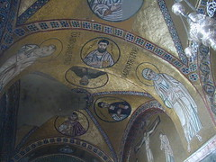 Ceilings are covered with mosaic and gilt