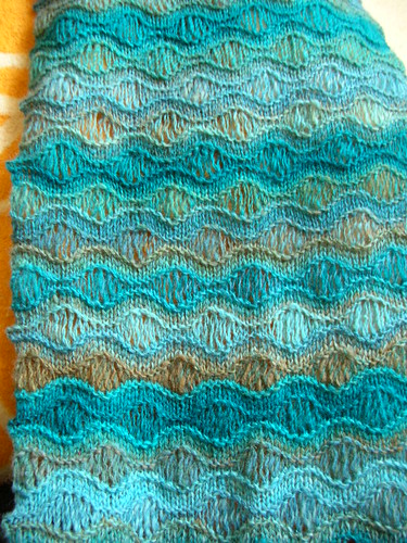 Morning Surf Scarf from handspun yarn