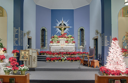 Saint John the Baptist Roman Catholic Church, in Villa Ridge (Gildehaus), Missouri, USA - sanctuary decorated for Christmas