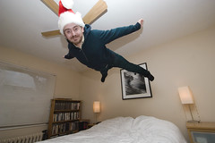 Flying off for the Holidays (DanielN) Tags: christmas selfportrait flight bedjump
