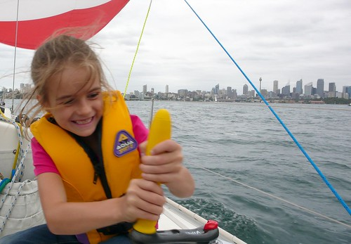 sofia helping with the sail