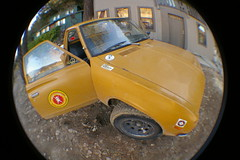 Butterscotch! (Shutter Theory) Tags: fish eye sticker pickup fisheye 1973 datsun butterscotch 620 l20b lakehughes bulletside club16 pl620