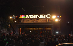 Crowd outside MSNBC's window