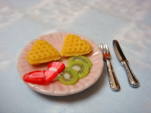 Dollhouse Miniature - Waffles for Valentines Day Breakfast